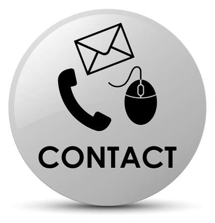 Contact (phone email and mouse icon) white isolated on round button abstract illustration
