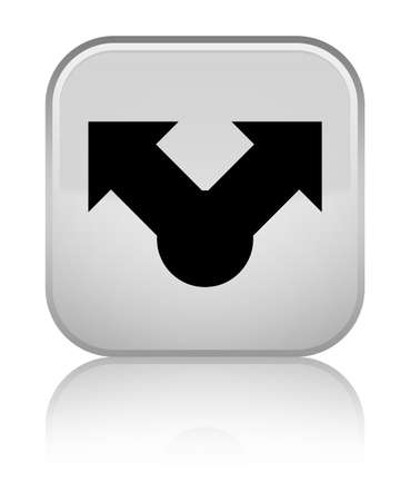 Share icon isolated on special white square button reflected abstract illustration Stock Photo