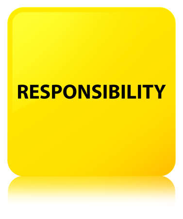Responsibility isolated on yellow square button reflected abstract illustration Reklamní fotografie