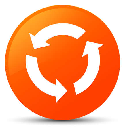 Refresh icon isolated on orange round button abstract illustration