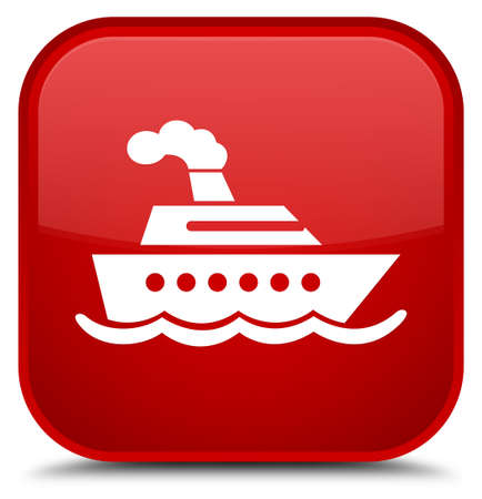 Cruise ship icon isolated on special red square button abstract illustration
