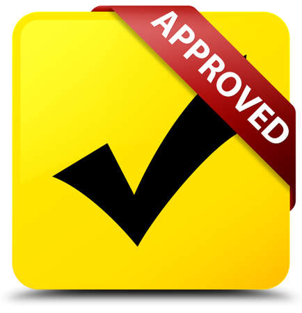 Approved (validate icon) isolated on yellow square button with red ribbon in corner abstract illustration Stock Photo