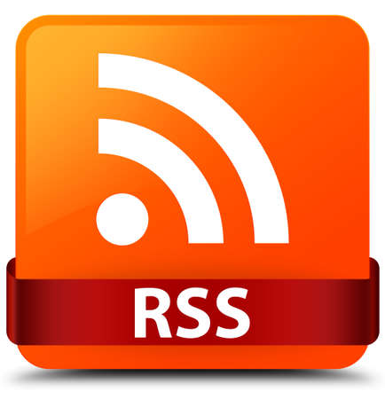 RSS isolated on orange square button with red ribbon in middle abstract illustration Stock Photo