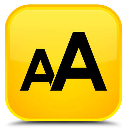 Font size icon isolated on special yellow square button abstract illustration