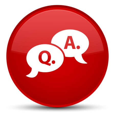 Question answer bubble icon isolated on special red round button abstract illustration
