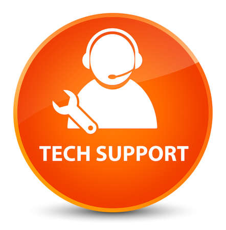 Tech support isolated on elegant orange round button abstract illustration