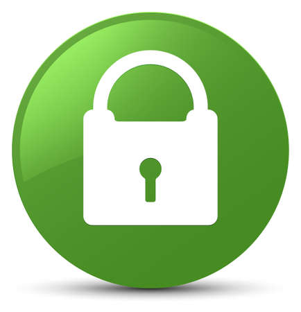 Padlock icon isolated on soft green round button abstract illustration Banque d'images