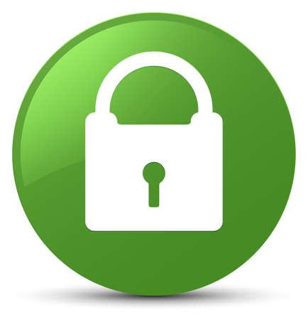 Padlock icon isolated on soft green round button abstract illustration Standard-Bild