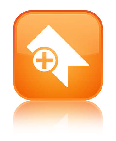Bookmark icon isolated on special orange square button reflected abstract illustration Stock Photo