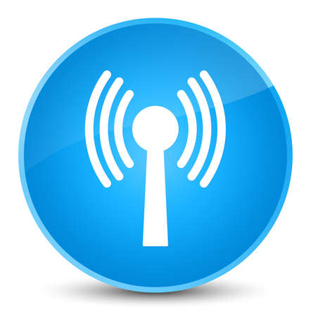 Wlan network icon isolated on elegant cyan blue round button abstract illustration Stock Photo