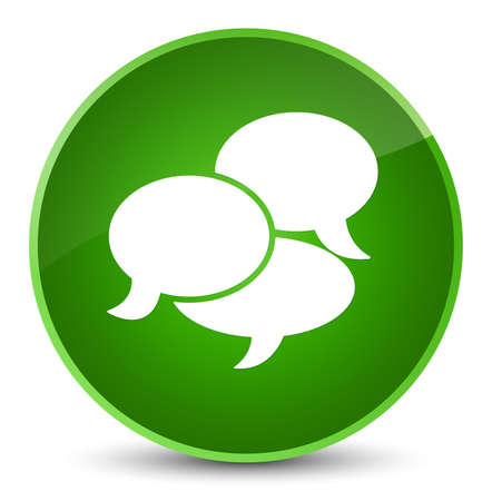Comments icon isolated on elegant green round button abstract illustration Stock Photo