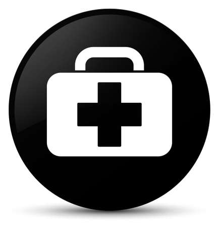 Medical bag icon isolated on black round button abstract illustration 版權商用圖片