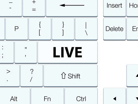 Live isolated on white keyboard button abstract illustration