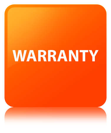 Warranty isolated on orange square button reflected abstract illustration Stock Photo