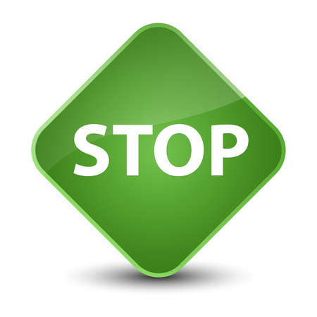Stop isolated on elegant soft green diamond button abstract illustration Stock Photo