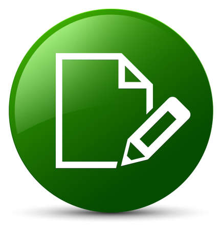Edit document icon isolated on green round button abstract illustration
