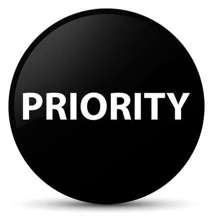 Priority isolated on black round button abstract illustration Stock Photo