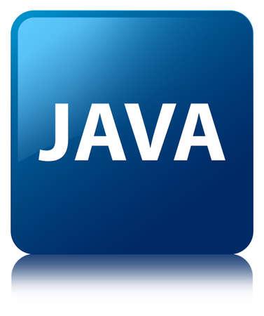 青い正方形のボタンに分離された Java は抽象的なイラストを反射 写真素材