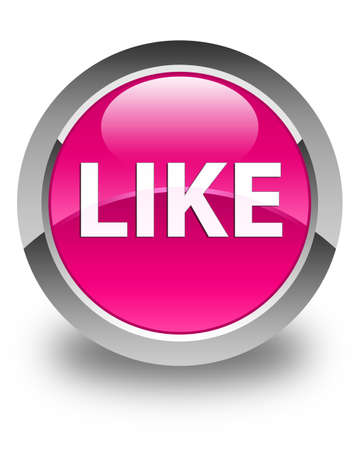 Like isolated on glossy pink round button abstract illustration