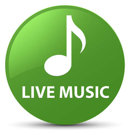 Live music isolated on soft green round button abstract illustration