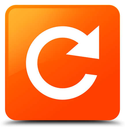 Reply rotate icon isolated on orange square button abstract illustration