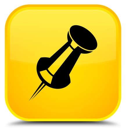 Push pin icon isolated on special yellow square button abstract illustration