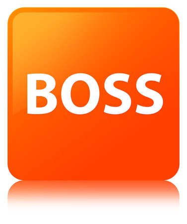 Boss isolated on orange square button reflected abstract illustration Stock Photo