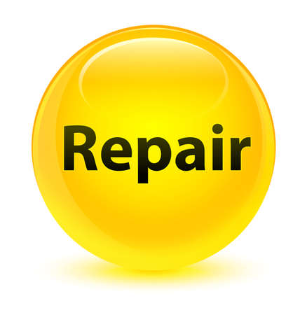 Repair isolated on glassy yellow round button abstract illustration