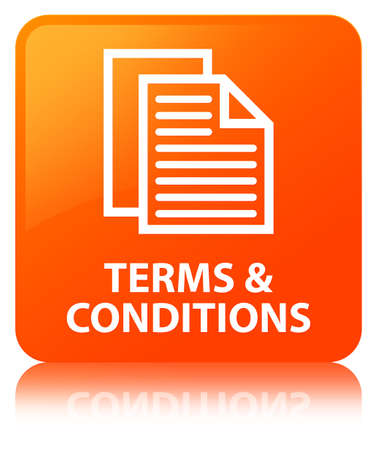 Terms and conditions (pages icon) isolated on orange square button reflected abstract illustration