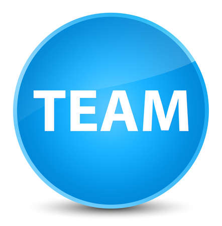 troupe: Team isolated on elegant cyan blue round button abstract illustration