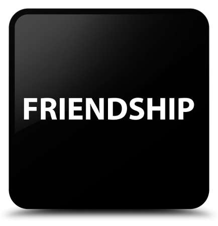 Friendship isolated on black square button abstract illustration