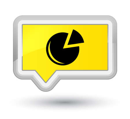 Graph icon isolated on prime yellow banner button abstract illustration Stock Photo