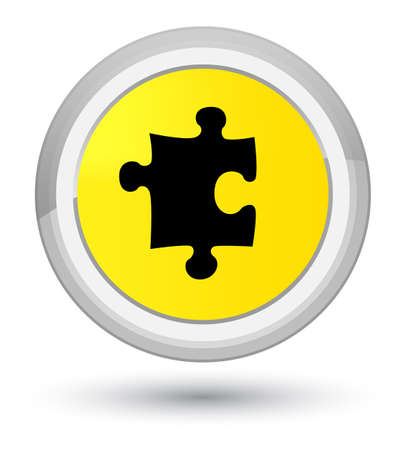 Puzzle icon isolated on prime yellow round button abstract illustration Stock Photo