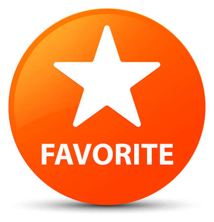 Favorite (star icon) isolated on orange round button abstract illustration