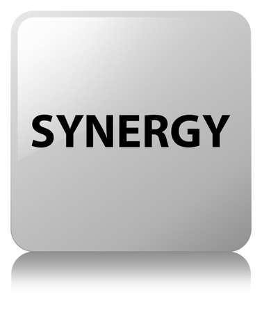 De synergisme op witte vierkante knoop wordt geïsoleerd wees op abstracte illustratie die