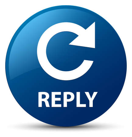 Reply (rotate arrow icon) isolated on blue round button abstract illustration Stok Fotoğraf