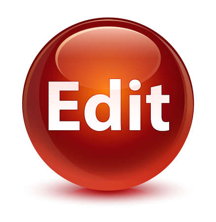 Edit isolated on glassy brown round button abstract illustration Stock Photo