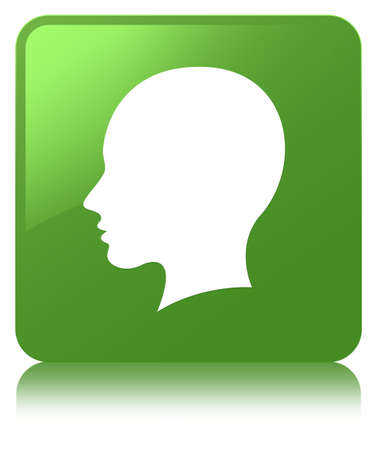 Head female face icon isolated on soft green square button reflected abstract illustration