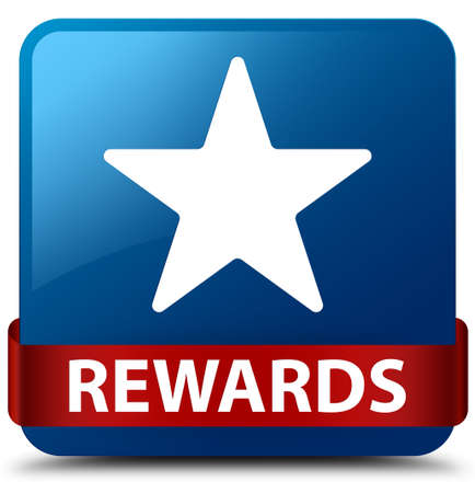 Rewards (star icon) isolated on blue square button with red ribbon in middle abstract illustration 版權商用圖片