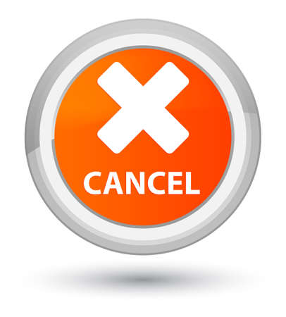 Cancel isolated on prime orange round button abstract illustration Stock Photo