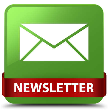 Newsletter isolated on soft green square button with red ribbon in middle abstract illustration