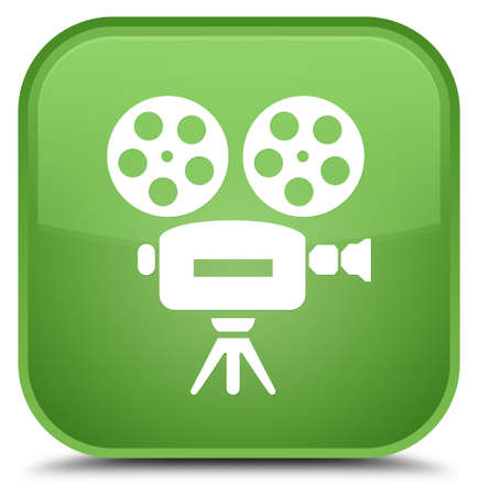Video camera icon isolated on special soft green square button abstract illustration