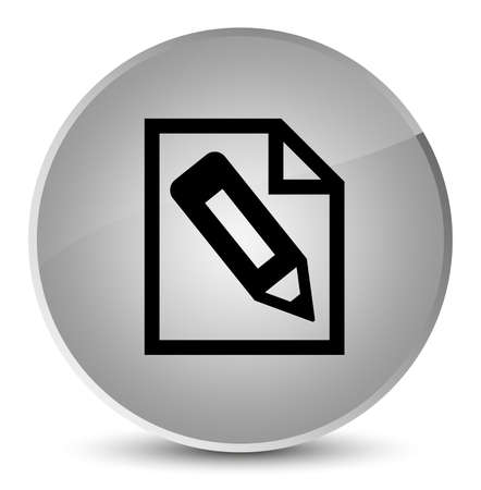 Pencil in page icon isolated on elegant white round button abstract illustration