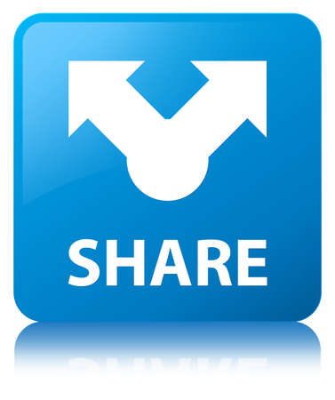 Share isolated on cyan blue square button reflected abstract illustration