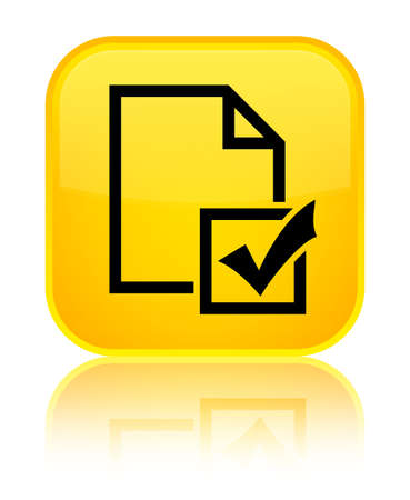 Survey icon isolated on special yellow square button reflected abstract illustration