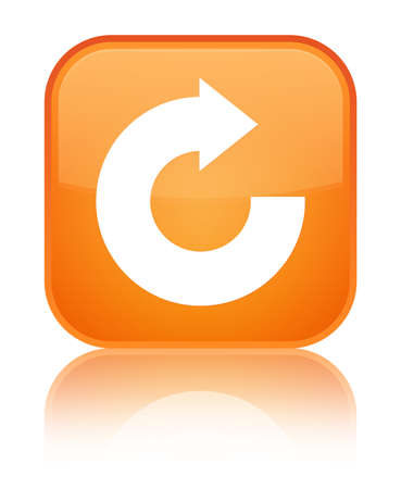 Reply arrow icon isolated on special orange square button reflected abstract illustration Stock Photo