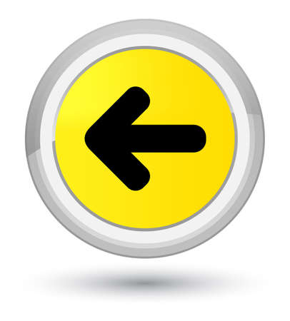 Back arrow icon isolated on prime yellow round button abstract illustration Stock Photo