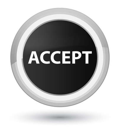 Accept isolated on prime black round button abstract illustration