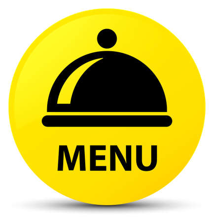 Menu (food dish icon) isolated on yellow round button abstract illustration Stock Photo
