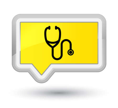 Stethoscope icon isolated on prime yellow banner button abstract illustration